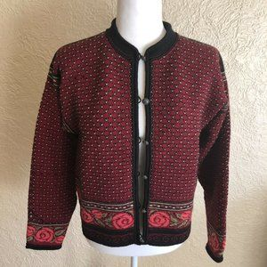 Dale of Norway Red Wool Cardigan Sweater Medium
